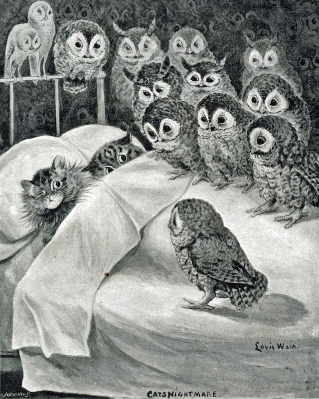 Louis Wain Cat Nightmare Owl Bird Painting 8x10 Real Canvas Giclee Art Print