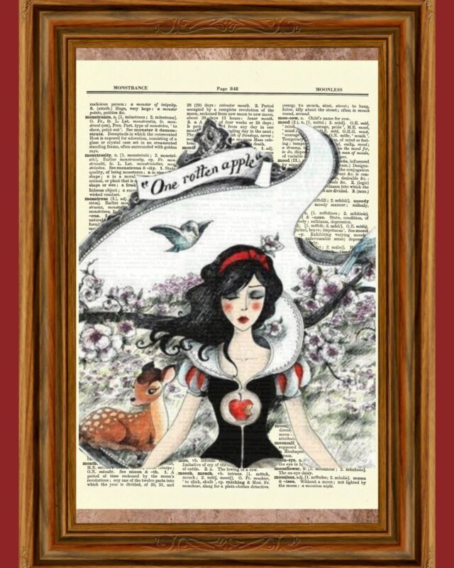 Snow White Fairy Tale Apple Story Dictionary Picture Art Print Book Page OOAK