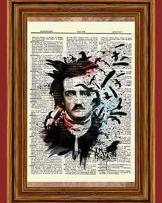 Edgar Allan Poe Dictionary Art Print Picture Portrait Story Print Book -