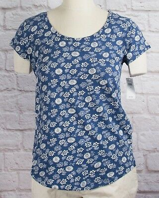 NWT Womens GAP Short Sleeve Easy Scoop Neck T-Shirt Blue w/Floral Print - 802484
