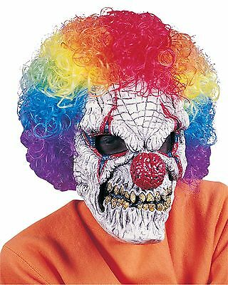 Evil Scary Clown Mask with Attached Wig Adult Costume - Evil Clown Wigs