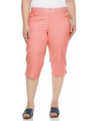 - Gloria Vanderbilt Women's Alicia Capri Pants Coral Pink Cotton Plus 22W 24W $50