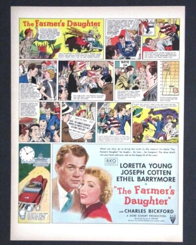 1947 The Farmers Daughter Movie Advertisement Comic Barrymore Young Print AD