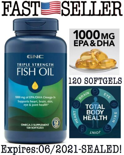GNC TRIPLE STRENGTH FISH OIL 1000mg of EPA/DHA, Omega -3, 120 Softgels - 06/2021