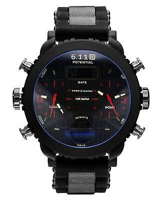 Mens Watch Quartz Digitial Black Rubber Strap Red Hand Alarm Date Display Luxury