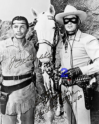 "Clayton Moore - Jay Silverheels The Lone Ranger 8""x 10"" Signed B&W PHOTO REPRINT"