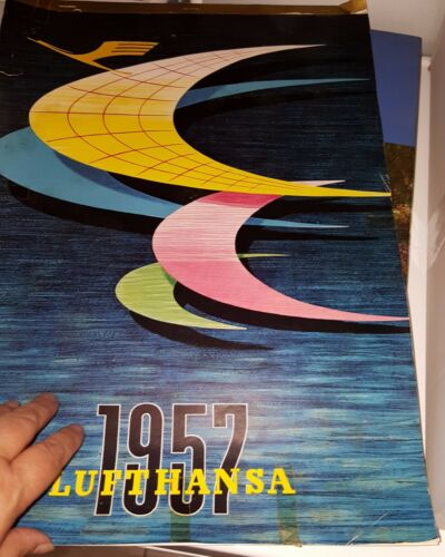 Vintage Lufthansa German Airlines Wall Calendar 1957 International Edition