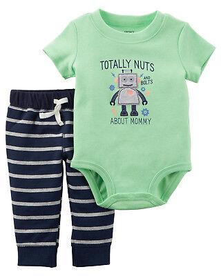 Carters 12 18 24 Months Robot Bodysuit & Pants Set Baby Boy Clothes -