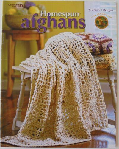 Leisure Arts Homespun Afghans 6 Designs Crochet Patterns