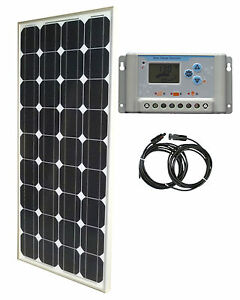 100w solar panel panneau solaire 30a 12v lcd charge controller cable rv boat. Black Bedroom Furniture Sets. Home Design Ideas