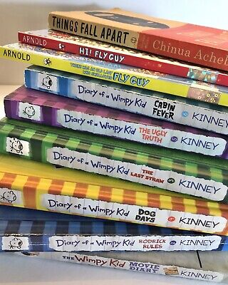 9 Childrens Teen Books: Fly Guy, Diary Of Wimpy Kid, Things Fall Apart Excellent