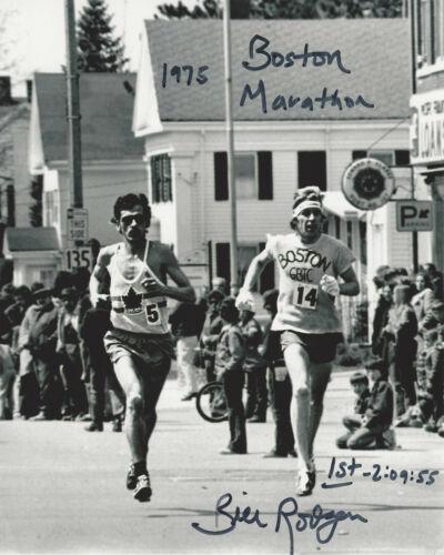 RUNNER BILL RODGERS SIGNED AUTHENTIC BOSTON MARATHON 8x10 PHOTO D w/COA WINNER