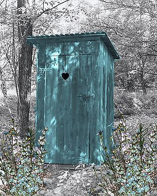 Teal Gray Wall Art Photo Print Vintage Outhouse Home Bath Decor Bathroom Picture