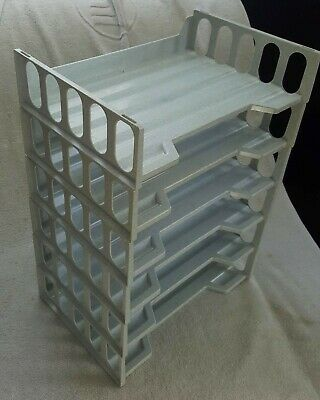 Stackable Desktop Document Letter Paper Tray Organizer - Set Of 6 Gray Excellent