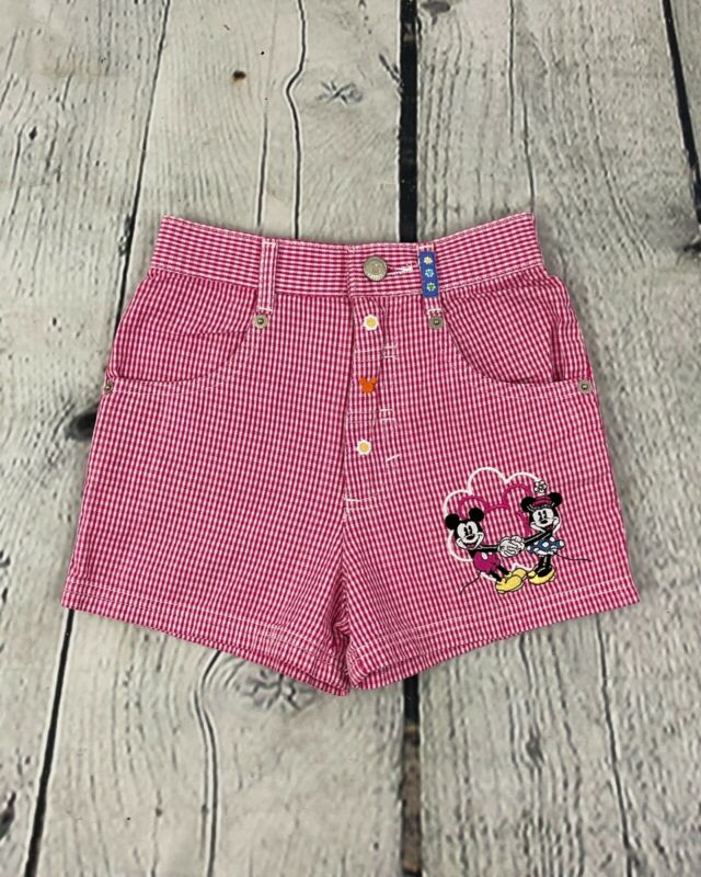 Disney Mickey & Co 90s Vintage Girls Red Gingham Plaid Shorts Sz 6