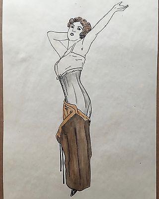 Erotische Mode Zeichnung - Original Aquarell um 1920. Art Deco - sehr gut