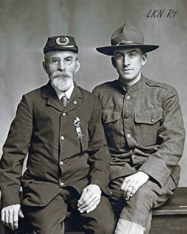 8 by 10 Civil War Photo Print Union Veteran in Uniform with WWI Veteran