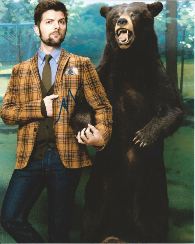 ADAM SCOTT HAND SIGNED AUTHENTIC 'PARKS AND RECREATIONS' 8X10 PHOTO B w/COA