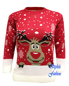 MENS LADIES XMAS CHRISTMAS JUMPER NOVELTY RUDOLPH UNISEX RETRO SWEATER JUMPERS