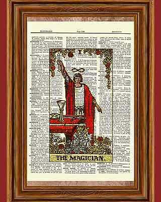 Tarot Cards The Magician Major Arcana Deck Dictionary Art Print Book Wall Decor