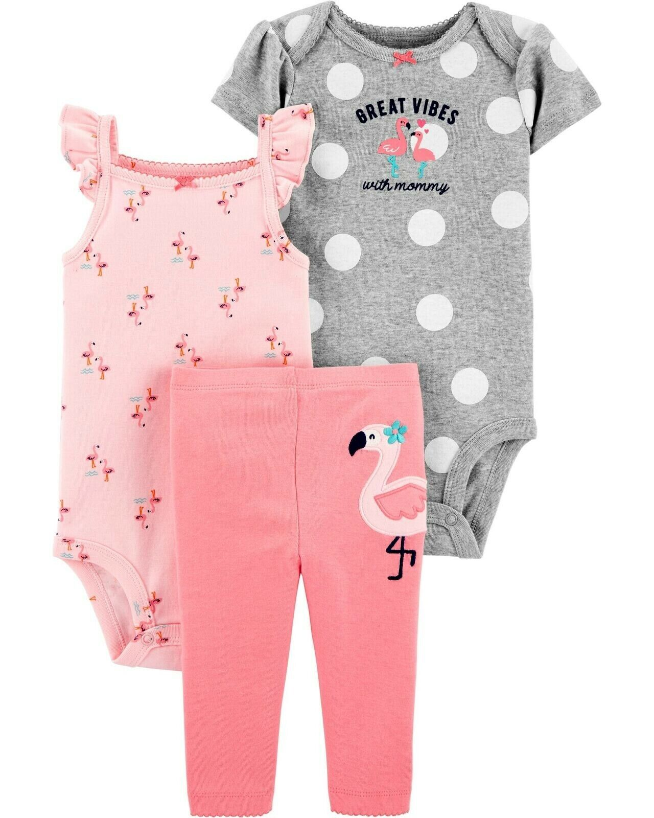 CARTER'S BABY GIRL 3PC FLAMINGO BODYSUITS PANT SET 6M OUTFIT CLOTHES