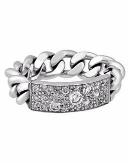 CHRISTIAN DIOR Gourmette 18K W/G Diamond Chain Ring Sz M or 6.5