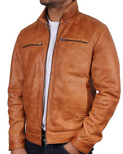 Mens Leather Biker jacket Brand New With Tag Leather Bomber Jacket Coat Designer