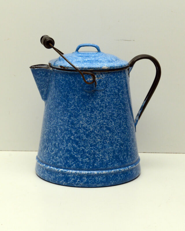 Antique Graniteware Coffee Pot Blue & White  Enamelware Beautiful Piece