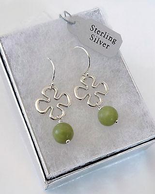 Irish Connemara Marble 925 Sterling Silver Celtic Clover Earrings + GIft Box