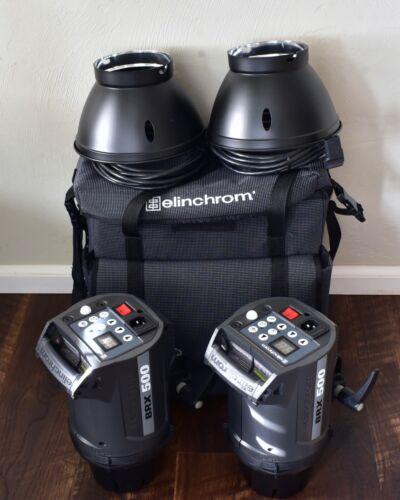 "Elinchrom BRX 500 Monolight Set 8"" Grid Reflectors Case 500 WS Strobes (#7726)"