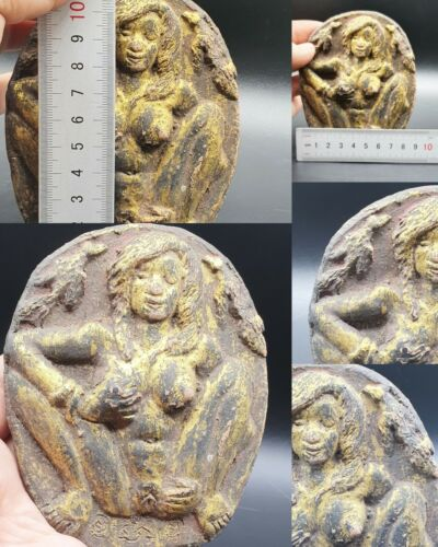 SCARCE RARE ANCIENT ROMAN ARTS OF NUDE FEMALE GOLD  GILDING TERRACOTTA #A711