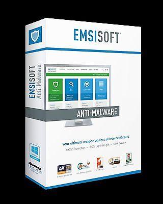 Emsisoft Anti Malware 3 Pc 1 Year Anti Virus Behavior Blocker Guard New