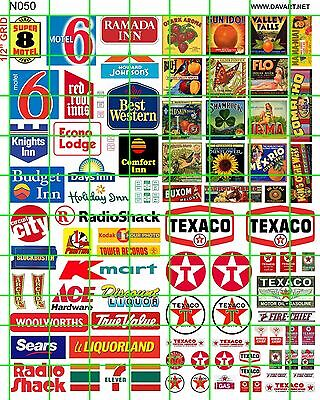 N050 DECALS MODERN AMERICAN HOTEL RETAIL STORES GAS/OIL BUILDING CRATE AD SIGN