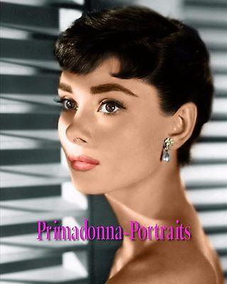 AUDREY HEPBURN 8X10 Lab Photo Color 1950s Elegant Shadow Glamour Portrait