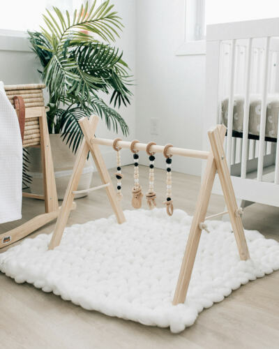 Baby Play Gym - Natural Wood Play Gym for Babies - Wooden Baby Gym