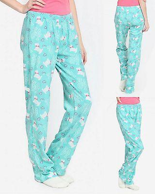 Womens PJ Pajama Bottoms Sleep Lounge Pants Blue Puppy Dog Love Print Large L
