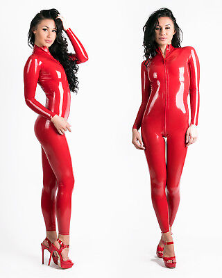(0.25MM LATEX RUBBER CATSUIT EASY-ON (Chlorianted, Extra Thin) RED OR BLACK)