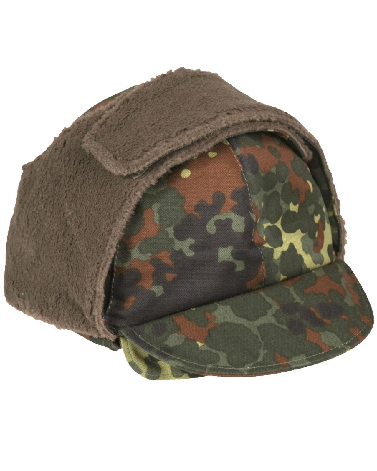 afa256339a0e2b Details about Genuine German Army Issued Bundeswehr Flecktarn Camo Winter  Pile Cap Hat Grade 1