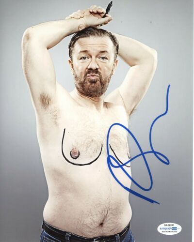 Ricky Gervais The Office Autographed Signed 8x10 Photo ACOA 2020-2