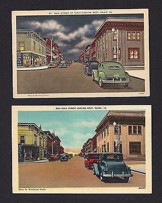 2 Postcards 1940s Main Street Salem Virginia VA Looking West Night Postcard Lot