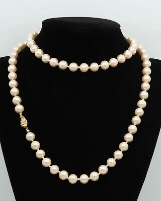 """60s -70s Jewelry – Necklaces, Earrings, Rings, Bracelets MARVELLA c. 1960s Individually Knotted Pink Champagne Faux Pearls 30"""" Necklace  $32.99 AT vintagedancer.com"""