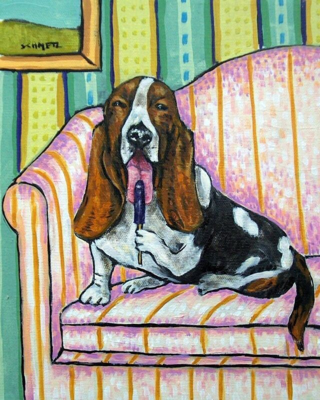 Basset hound with a popsicle 11x14  dog art print artwork giclee