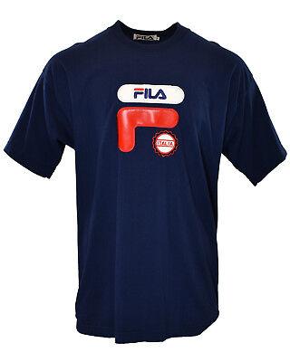 Vintage FILA Sport Italia 90's Faux Leather Designer Hiphop Fashion Tee Shirt XL