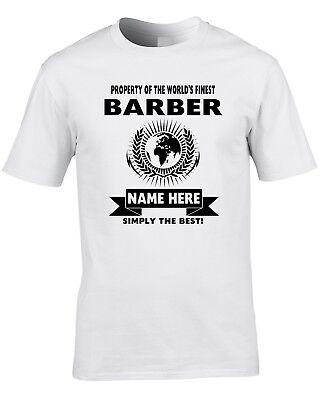 Barber Custom Men's T-Shirt World Best Job Hairdresser Shop Hair Cut Gift