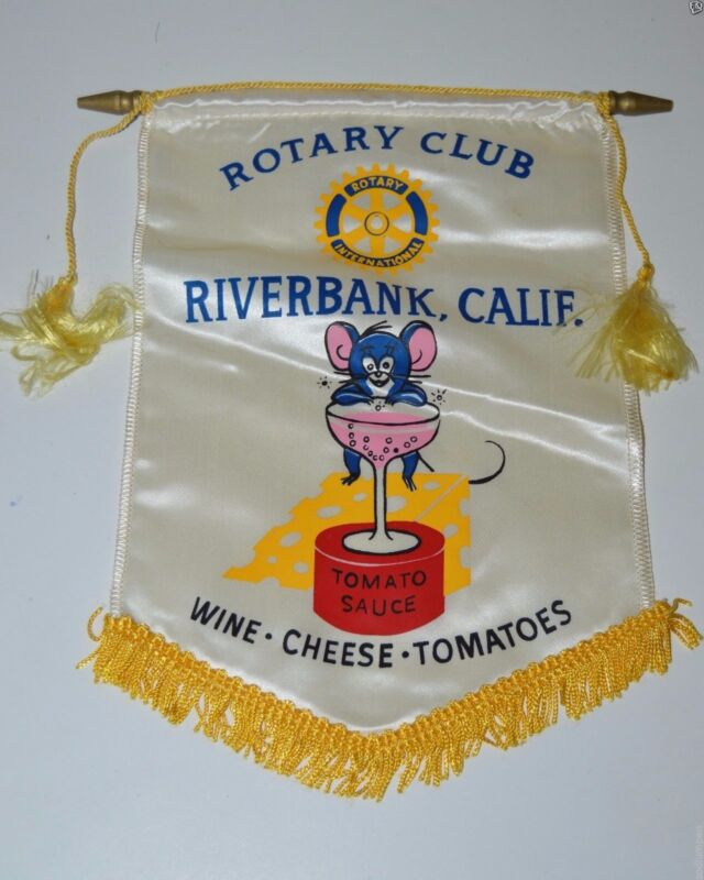Vintage Riverbank California International Rotary Club Banner Wine Cheese RARE