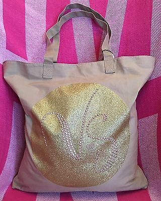 NWT Victoria's Secret Canvas Tote ~ Beach Bag Khaki VS Gold Heart
