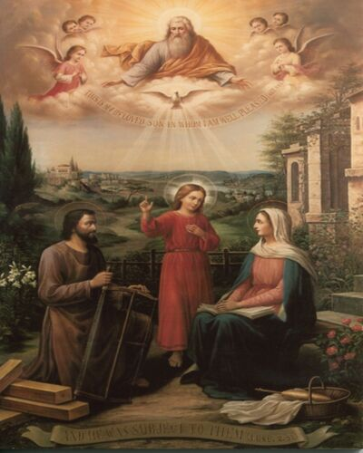 """Catholic print picture  -  HOLY FAMILY 8  -  8"""" x 10"""" ready to be framed"""