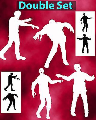 Zombie silhouettes Double Set Airbrush Stencil Spray Vision Template (Zombie Silhouettes)