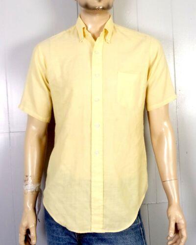 vtg 60s Van Heusen Vanopress Light Yellow SS Button Down Dress Shirt Oxford M