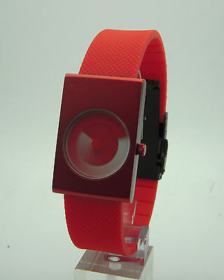 (I-toc RED Watch: unique color handless 01 binary modern design art EleeNo issey)